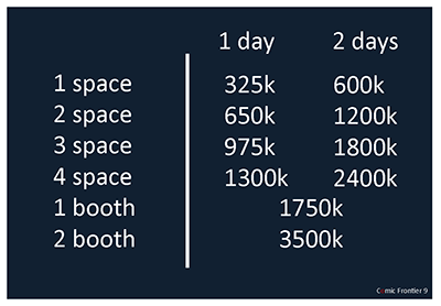 Space and Booth Price List